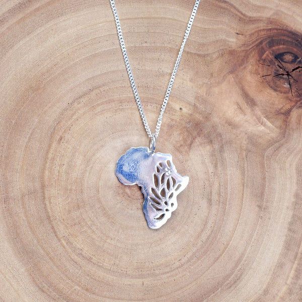 Sterling silver Protea Africa continent necklace online - Sugar and Vice