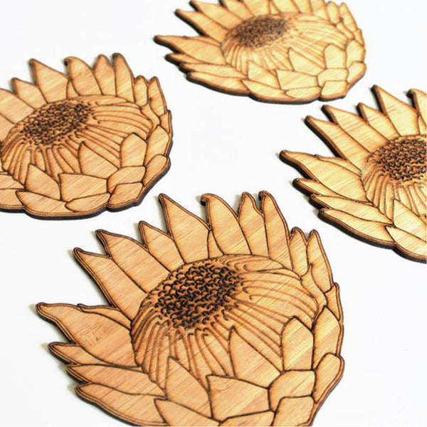 protea engraved bamboo coaster set - sugar and vice