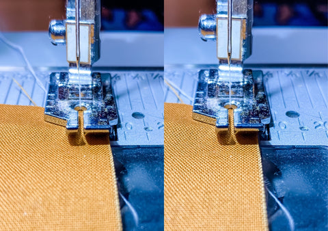 """Fabric lined up under the presser foot to create a regular and scant 1/4"""" seam."""