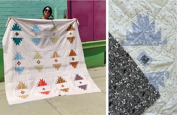 Tester quilts with directional prints, from Mija Handmade and Porcupine Sews Threads
