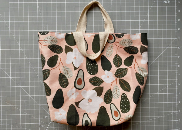 Finished canvas lunch tote