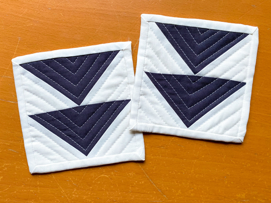 flying geese foundation paper pieced quilted coasters
