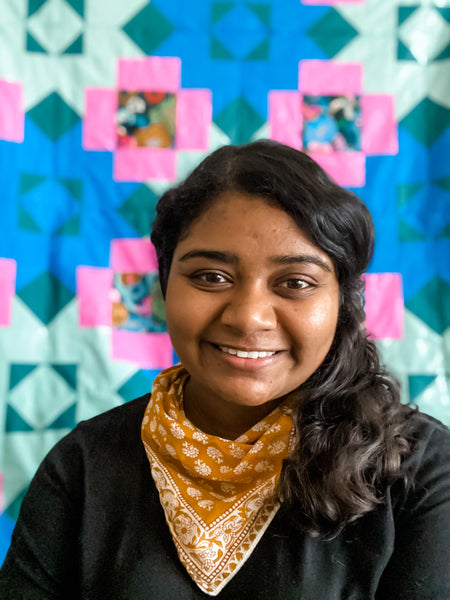 Bhiravi, the owner and designer at Strawberry Creek Quilts