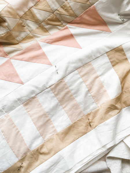 toad and sew - new year's kiss quilt - pink, tan and white quilt - in progress