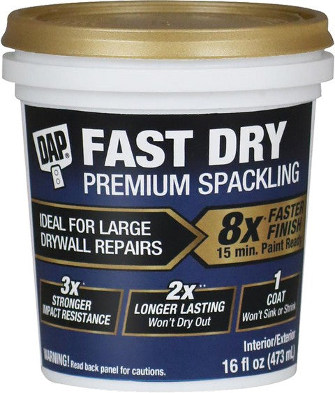 Dap Premium Fast Dry Spackle 8x Faster Finish 16oz.