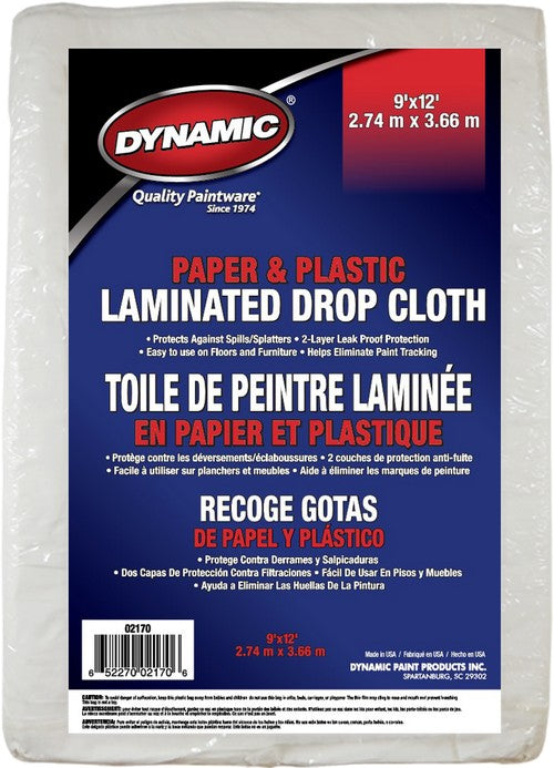 Dynamic 02170 9' x 12' Paper & Plastic Laminated Drop Cloth
