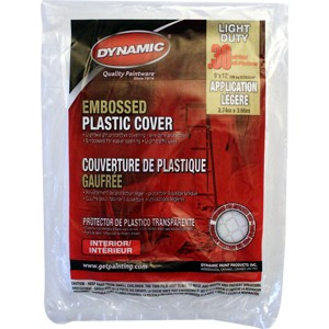 Dynamic 00380 9' x 12' .3mil Embossed Clear Plastic Flat Packed Drop Cloth