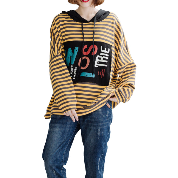 ellazhu Women Loose Batwing Sleeve Striped Print Sweatshirt Hoodie Top GA1638