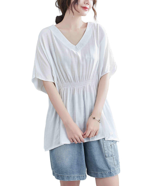 ellazhu Women Loose Casual Short Sleeves Crewneck Solid Color Tshirt Tops GA2243 Black