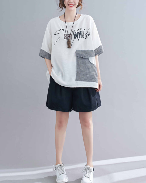 ellazhu Women Loose Casual Short Sleeves Crewneck Letters Print Tshirt Tops GA2244 Black