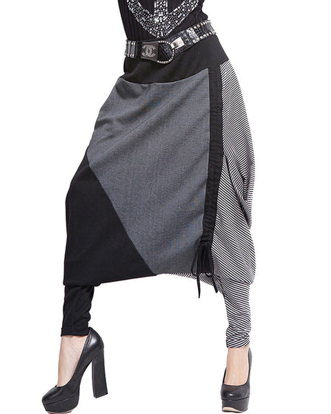 ellazhu Women Baggy Drawstring Adjustable Length Harem Pants GY259 Grey