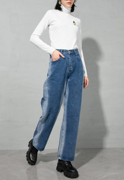 ellazhu Women Loose High Waist Blue Wide Leg Jeans Pants with Pockets GY2652