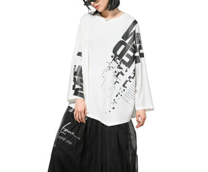 ellazhu Women Loose Crewneck Long Sleeve Letters Print Pullovers Top Tshirt GY2654