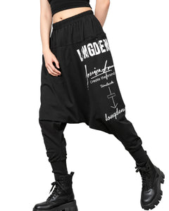 ellazhu Women Elastic Drop Crotch Casual Letters Print Harem Pants with Pockets GY2659
