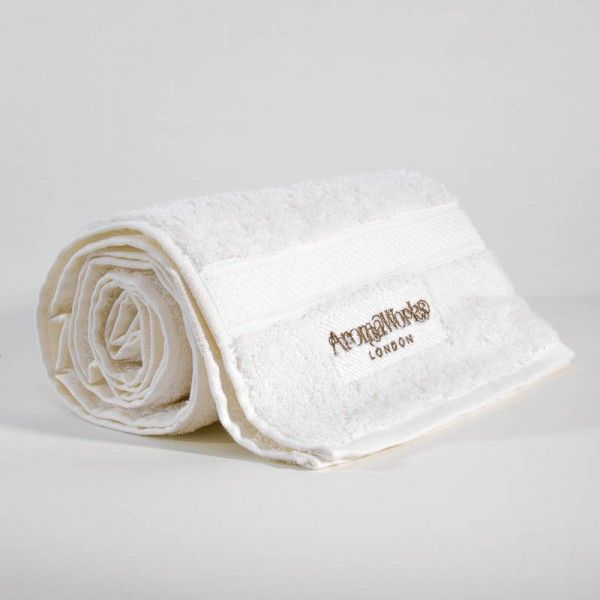 AromaWorks White Embroidered Hand Towel