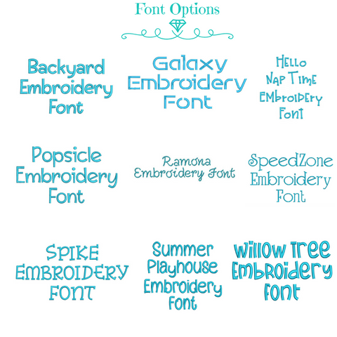 Font Options Shown in Blue