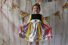 Load image into Gallery viewer, Puppy Party Dress, Girls Boutique Dress, Size 2T-8T, Girls Dress, Birthday Dress, Party, CUSTOM DRESS No 2 are the same!