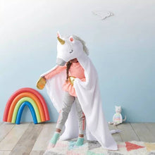 "Load image into Gallery viewer, Personalized Unicorn Hooded Blanket, 50""x 40"" Blanket, Unicorn Slumber  Party, Unicorn Birthday Gift ages 3-9, Kids Blanket"