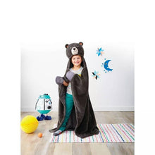 "Load image into Gallery viewer, Personalized Bear Hooded Blanket, 50""x 40"" Blanket, Woodland Party, Big Adventure, Camping Birthday Gift ages 3-9, Kids Blanket, Black Bear"