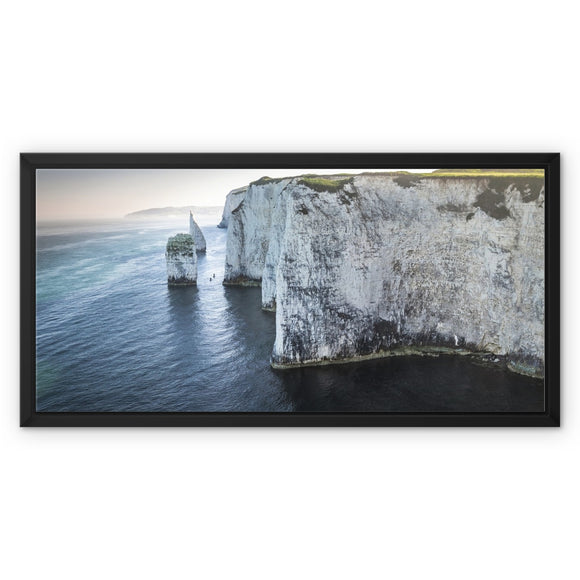 Canoeing in No Man's Land - Old Harry Rocks Framed Canvas