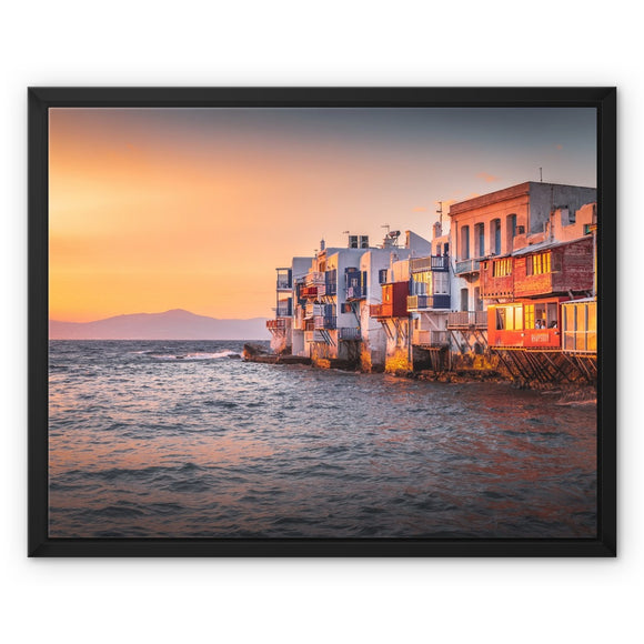 Mediterranean Rhapsody! - Mykonos, Greece Framed Canvas - Sydspicsprints