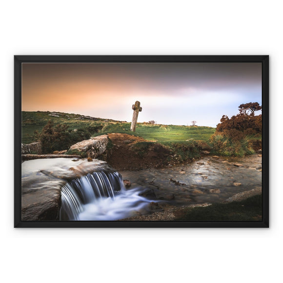 Windy Post Granite Cross - Dartmoor Framed Canvas - Sydspicsprints