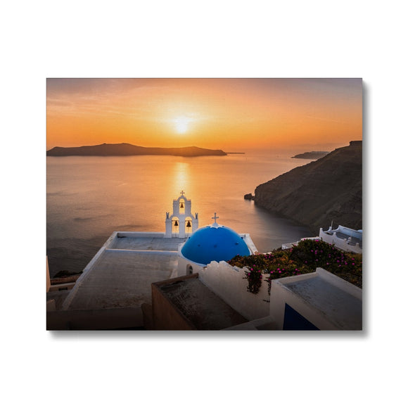 Let there be Light! - Three Bells of Fira, Santorini Canvas