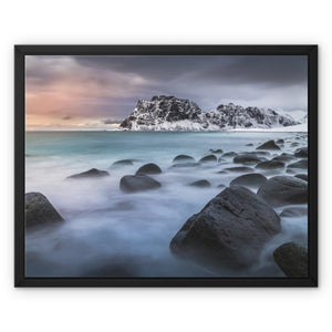 A palette of colours - Uttakleiv Beach, Lofoten Framed Canvas