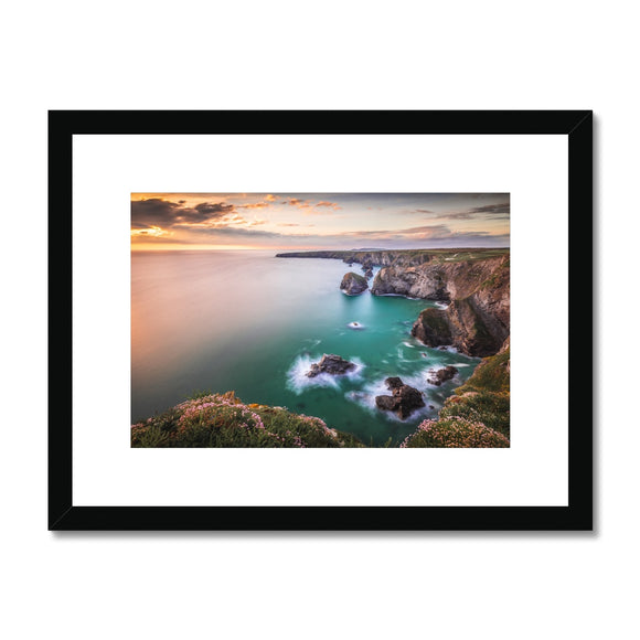 Sunset Colours - Bedruthan Steps, Cornwall (LIMITED EDITION) Framed & Mounted Print