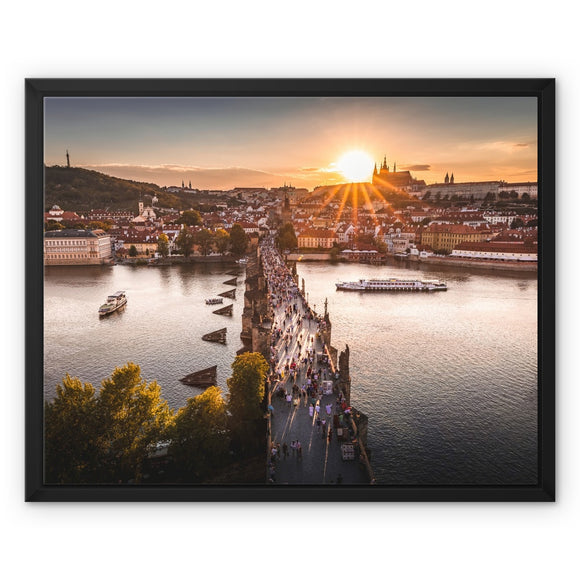 Evening Rush! - Charles Bridge, Prague Framed Canvas - Sydspicsprints