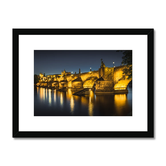 Luminescent Bridge! - Charles Bridge, Prague Framed & Mounted Print - Sydspicsprints