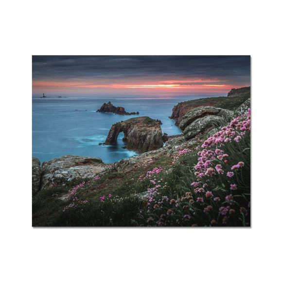 Spring Sunset at Enys Dodnan Arch! - Land's End, Cornwall Fine Art Print - Sydspicsprints