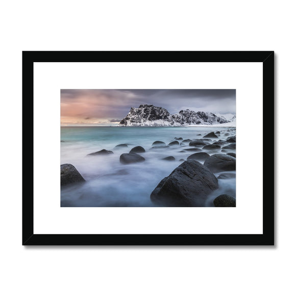 A palette of colours - Uttakleiv Beach, Lofoten Framed & Mounted Print