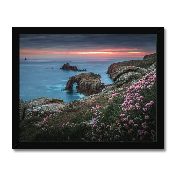 Spring Sunset at Enys Dodnan Arch! - Land's End, Cornwall Framed Print - Sydspicsprints