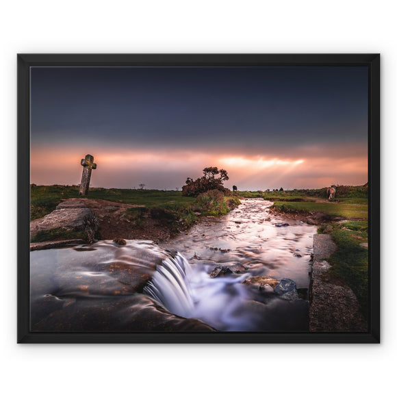 Sky on fire - Windy Post, Dartmoor Framed Canvas