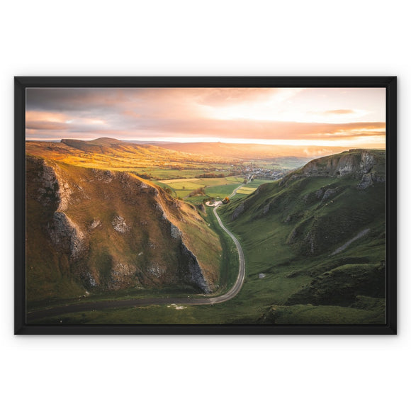 Road to Sunrise! - Winnats Pass, Peak District Framed Canvas
