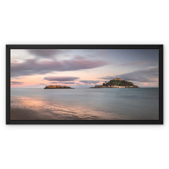 Hoar rock in woodland!  - St Michael's Mount, Cornwall Framed Canvas - Sydspicsprints