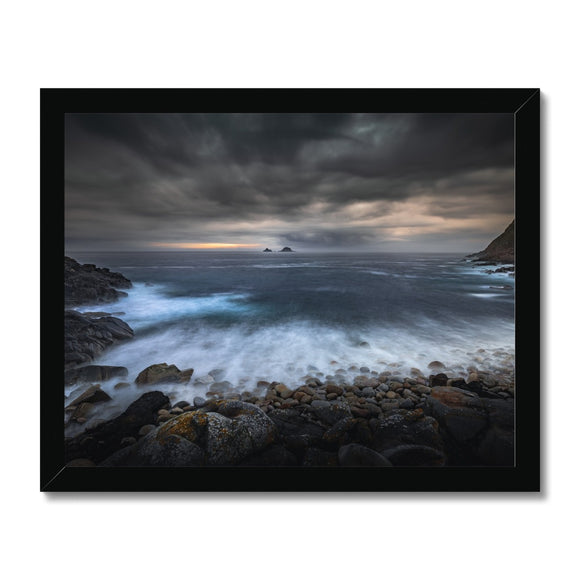Break Through! - Porth Nanven, Cornwall Framed Print - Sydspicsprints