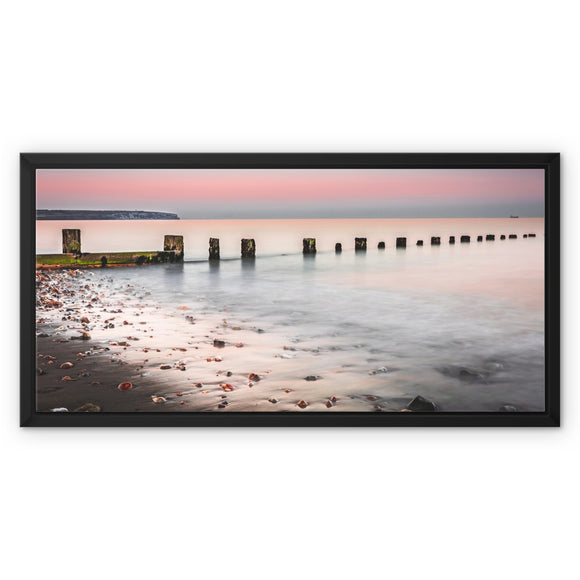 Calmness- Shanklin Beach, Isle of Wight Framed Canvas - Sydspicsprints
