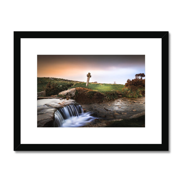 Windy Post Granite Cross - Dartmoor Framed & Mounted Print