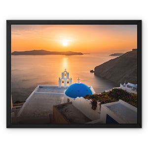 Let there be Light! - Three Bells of Fira, Santorini Framed Canvas