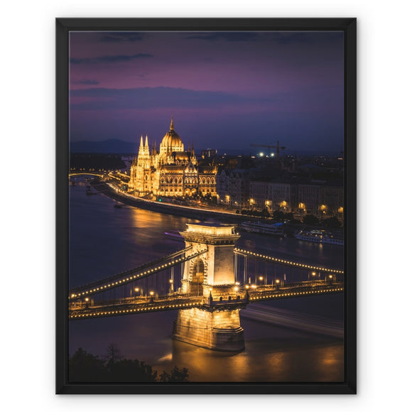 City of gold!- Chain Bridge and Parliament, Budapest Framed Canvas