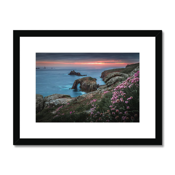 Spring Sunset at Enys Dodnan Arch! - Land's End, Cornwall Framed & Mounted Print - Sydspicsprints