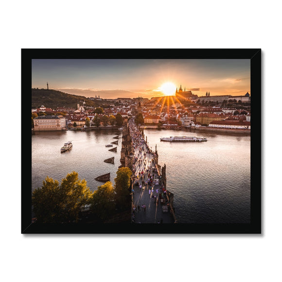 Evening Rush! - Charles Bridge, Prague Framed Print
