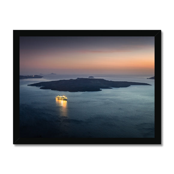 Twilight Cruiser! - Caldera, Santorini Framed Print - Sydspicsprints