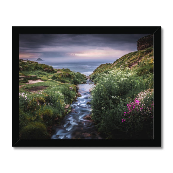 Into the Ocean! - Porth Nanven, Cornwall Framed Print