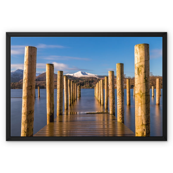 Into the water - Derwent Water, Lake District Framed Canvas