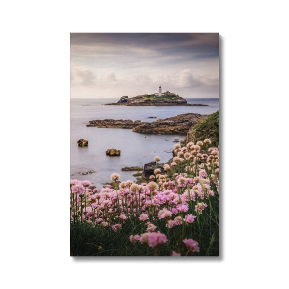 Coastal Springtime! - Godrevy Lighthouse, Cornwall Canvas - Sydspicsprints