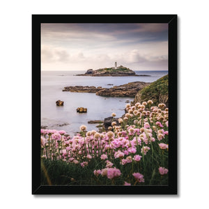 Coastal Springtime! - Godrevy Lighthouse, Cornwall Framed Print - Sydspicsprints