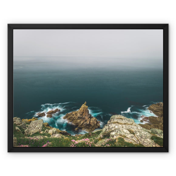 Misty Morning at Mayon Cliff - Land's End, Cornwall Framed Canvas - Sydspicsprints